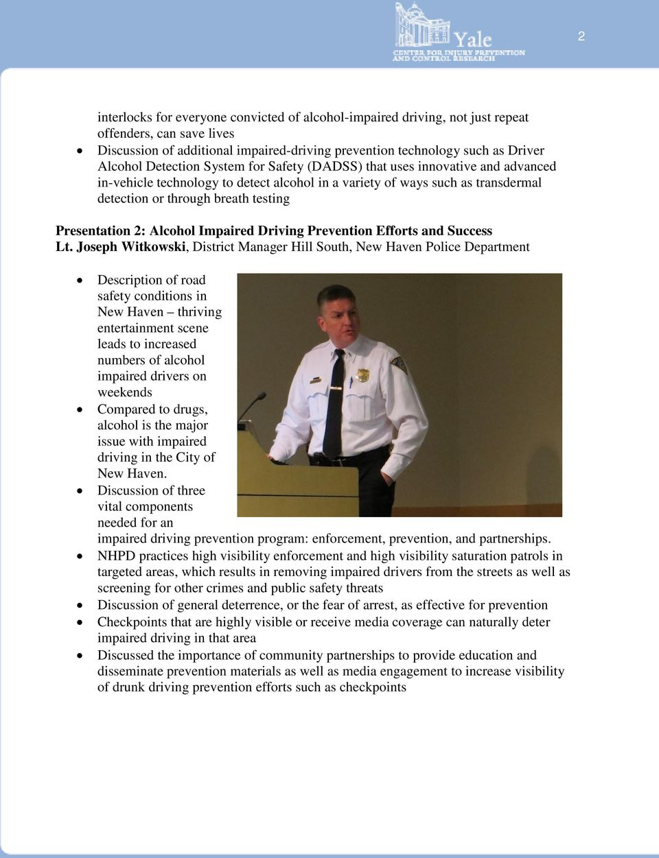 2: Alcohol Impaired Driving Prevention Efforts and Success Lt.