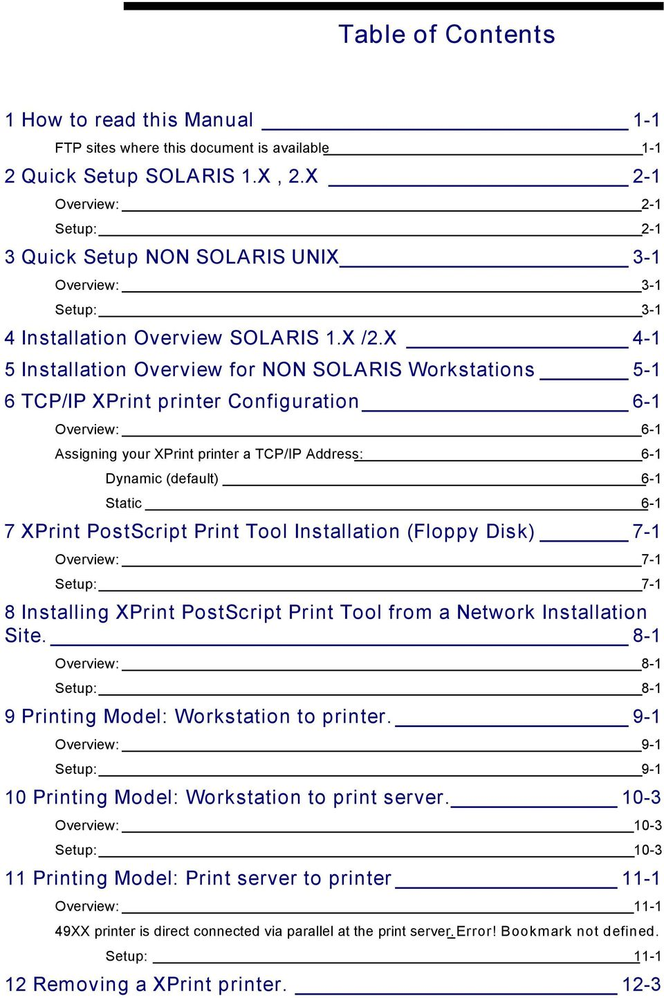 X 4-1 5 Installation Overview for NON SOLARIS Workstations 5-1 6 TCP/IP XPrint printer Configuration 6-1 Overview: 6-1 Assigning your XPrint printer a TCP/IP Address: 6-1 Dynamic (default) 6-1 Static