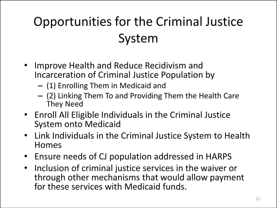 Justice System onto Medicaid Link Individuals in the Criminal Justice System to Health Homes Ensure needs of CJ population addressed in HARPS
