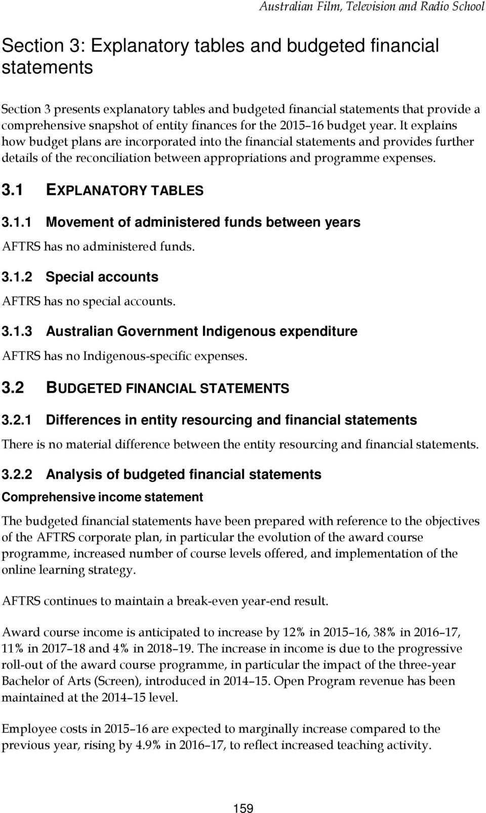 1 EXPLANATORY TABLES 3.1.1 Movement of administered funds between years AFTRS has no administered funds. 3.1.2 Special accounts AFTRS has no special accounts. 3.1.3 Australian Government Indigenous expenditure AFTRS has no Indigenous-specific expenses.