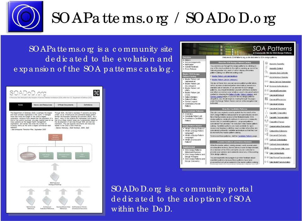 and expansion of the SOA patterns catalog. SOADoD.
