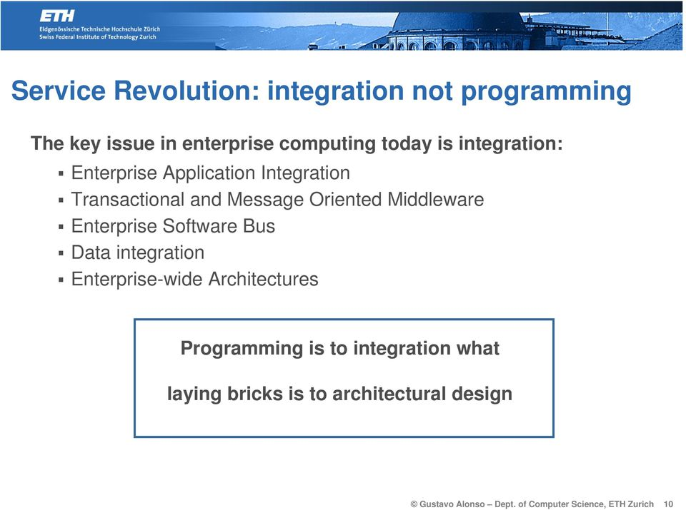 Enterprise Software Bus Data integration Enterprise-wide Architectures Programming is to