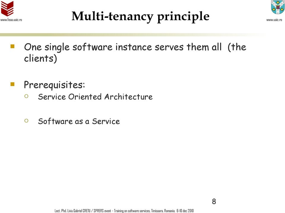 Software as a Service Lect. Phd.