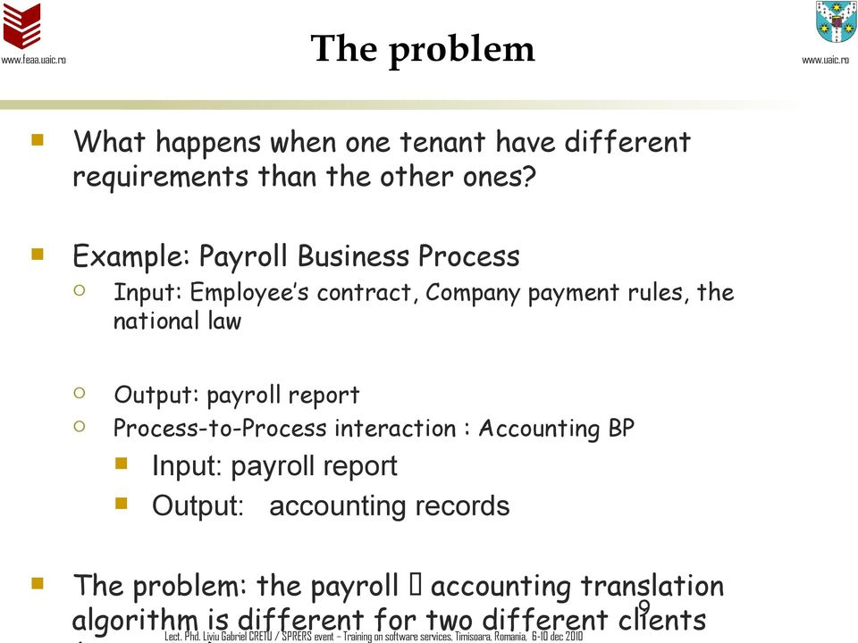 Process-to-Process iteractio : Accoutig BP Iput: payroll report Output: accoutig records The problem: the payroll