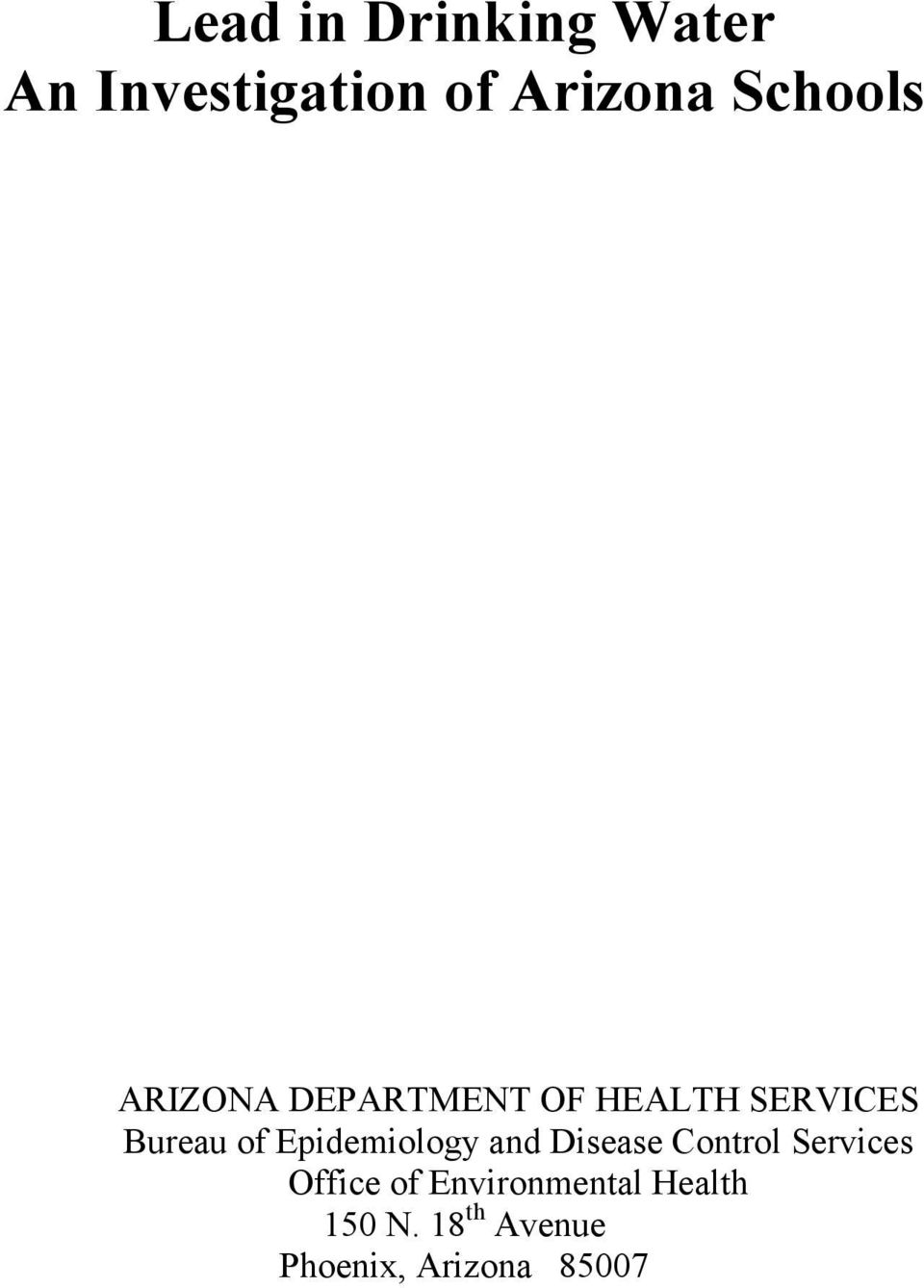 Epidemiology and Disease Control Services Office of