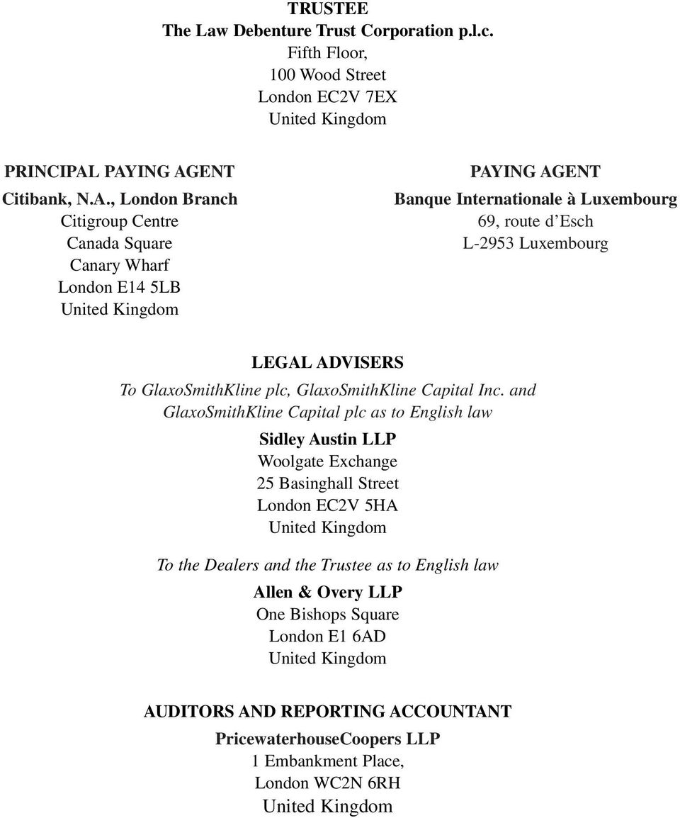 Luxembourg LEGAL ADVISERS To, GlaxoSmithKline Capital Inc.