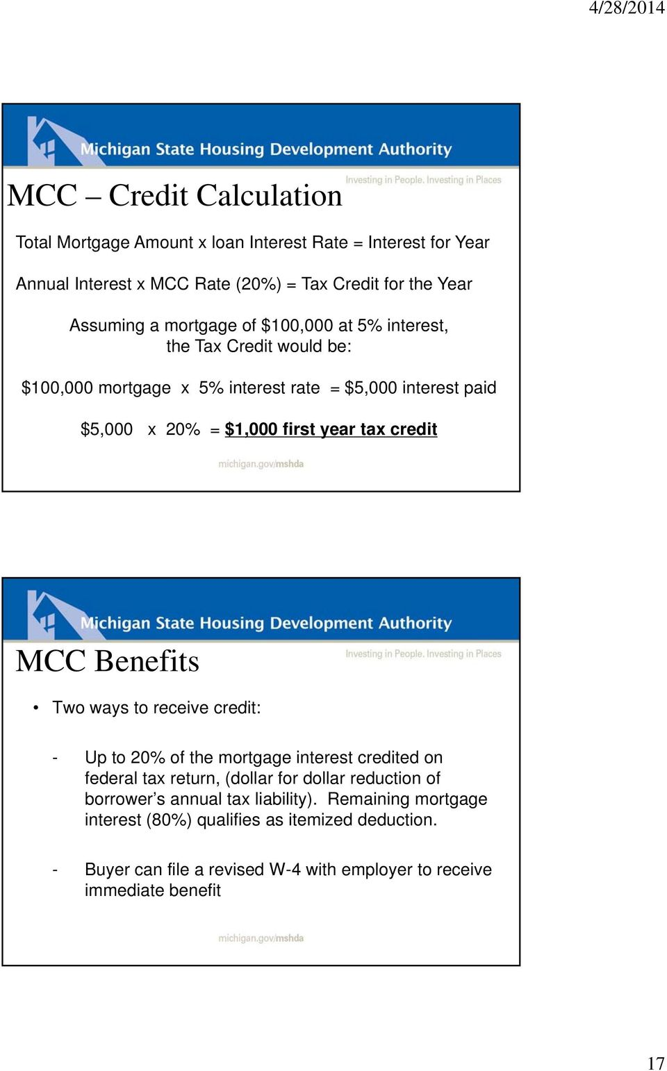credit MCC Benefits Two ways to receive credit: - Up to 20% of the mortgage interest credited on federal tax return, (dollar for dollar reduction of borrower s