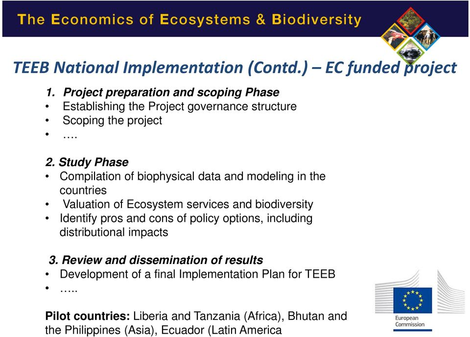 Study Phase Compilation of biophysical data and modeling in the countries Valuation of Ecosystem services and biodiversity Identify pros and