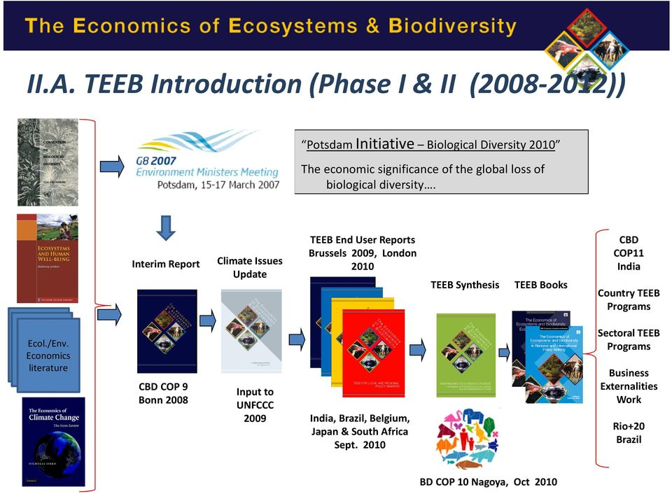Interim Report Climate Issues Update TEEB End User Reports Brussels 2009, London 2010 TEEB Synthesis TEEB Books CBD COP11 India