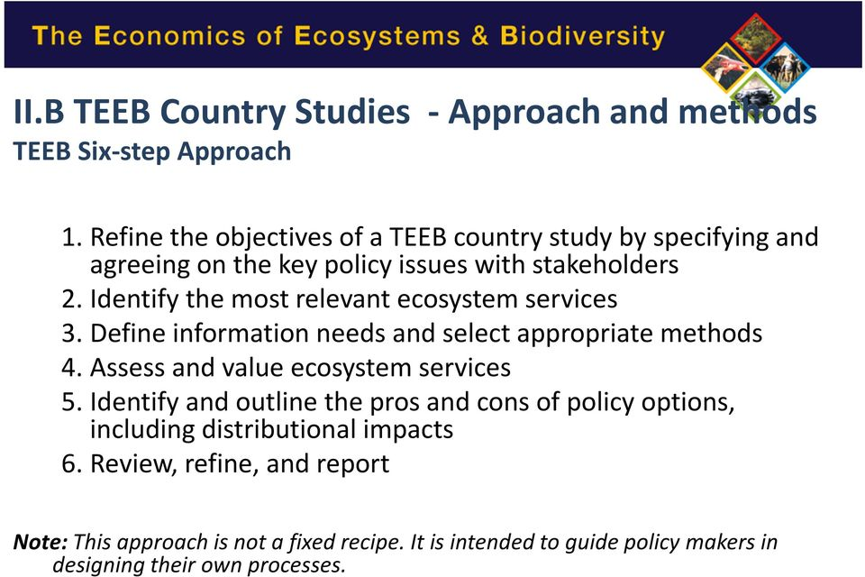 Identify the most relevant ecosystem services 3.Define information needs and select appropriate methods 4.