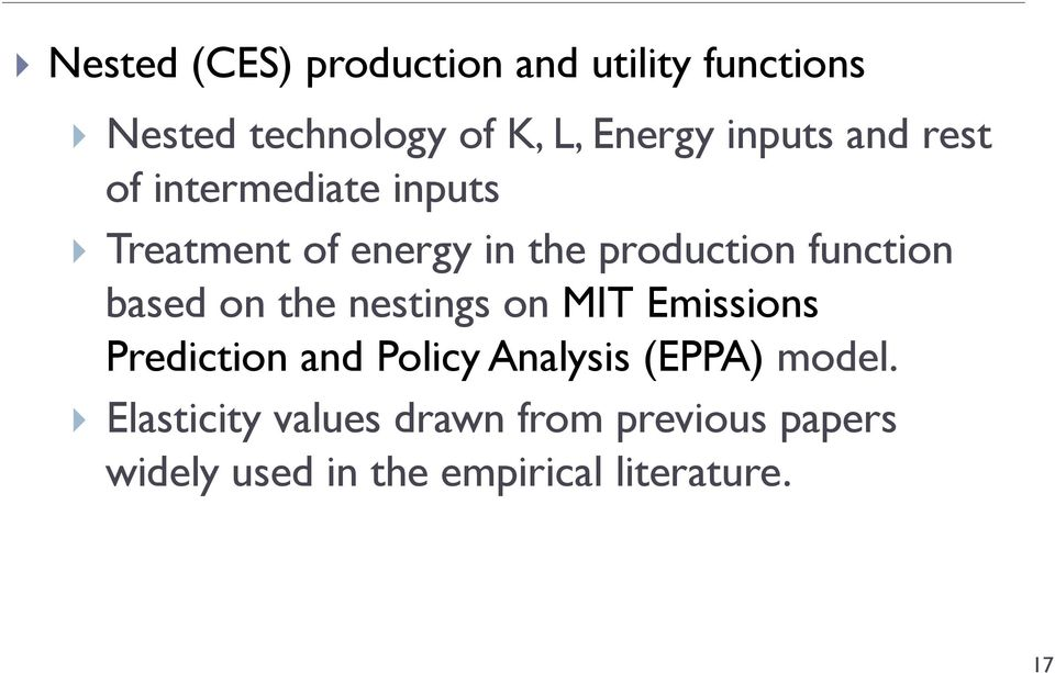 function based on the nestings on MIT Emissions Prediction and Policy Analysis (EPPA)