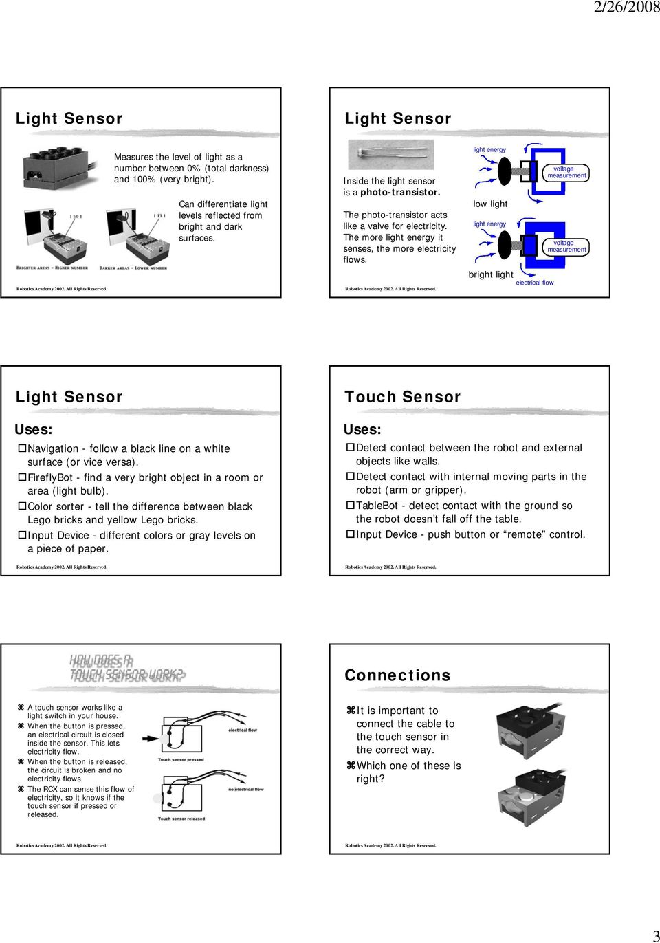 light energy low light light energy bright light electrical flow voltage measurement voltage measurement Light Sensor Touch Sensor Uses: Navigation - follow a black line on a white surface (or vice