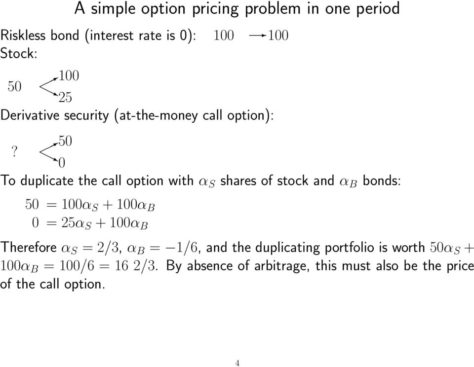 0 To duplicate the call option with α S shares of stock and α B bonds: 50 = 100α S + 100α B 0 = 25α S + 100α B