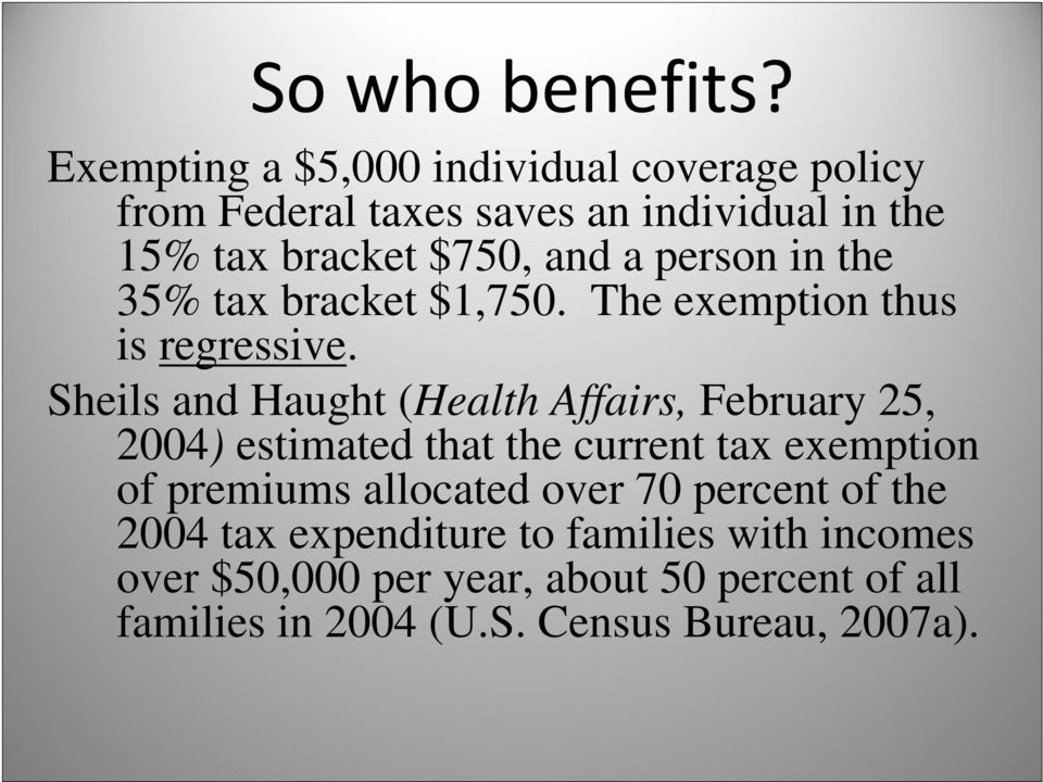 person in the 35% tax bracket $1,750. The exemption thus is regressive.
