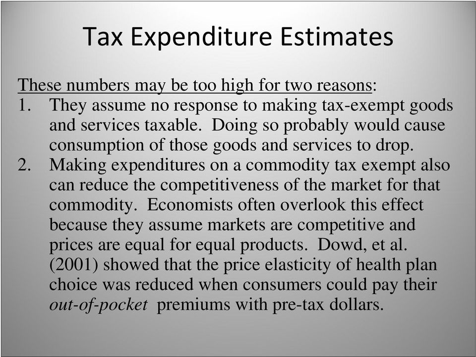 Making expenditures on a commodity tax exempt also can reduce the competitiveness of the market for that commodity.