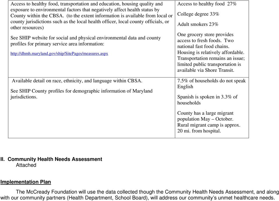 environmental data and county profiles for primary service area information: http://dhmh.maryland.gov/ship/sitepages/measures.aspx Available detail on race, ethnicity, and language within CBSA.
