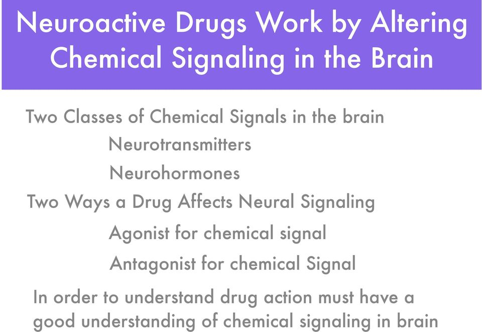 Affects Neural Signaling Agonist for chemical signal Antagonist for chemical Signal