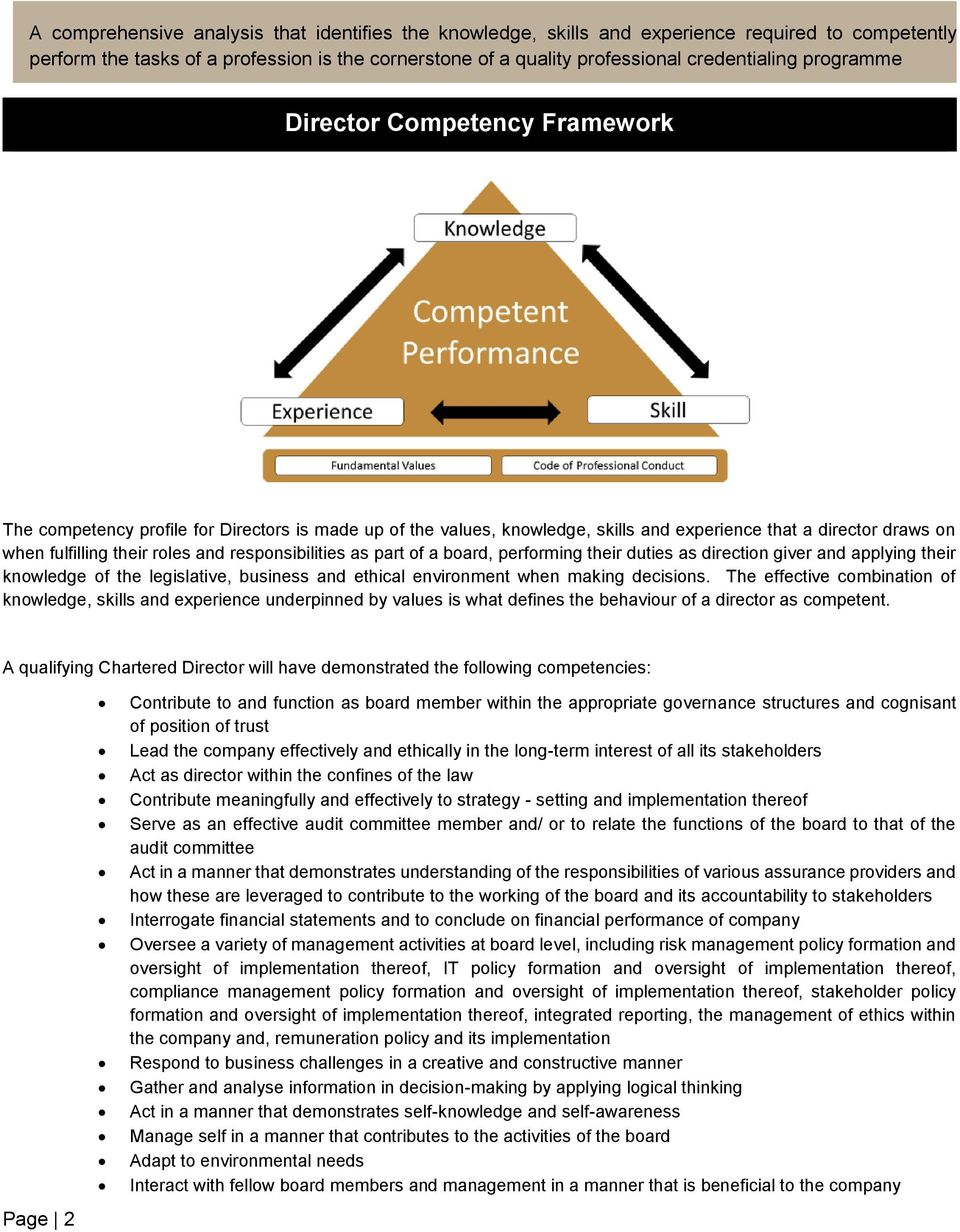 responsibilities as part of a board, performing their duties as direction giver and applying their knowledge of the legislative, business and ethical environment when making decisions.