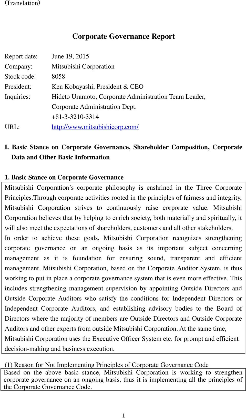 Basic Stance on Corporate Governance, Shareholder Composition, Corporate Data and Other Basic Information 1.