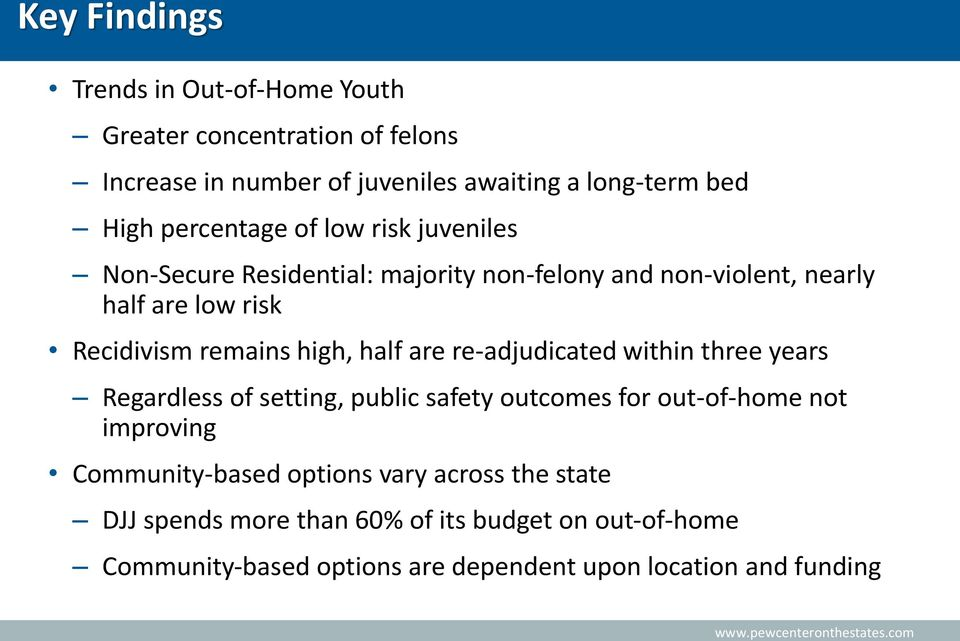 high, half are re-adjudicated within three years Regardless of setting, public safety outcomes for out-of-home not improving Community-based