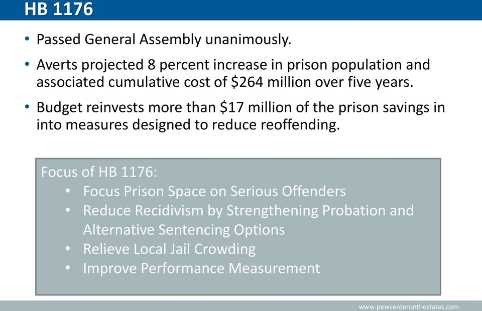 years. Budget reinvests more than $17 million of the prison savings in into measures designed to reduce reoffending.