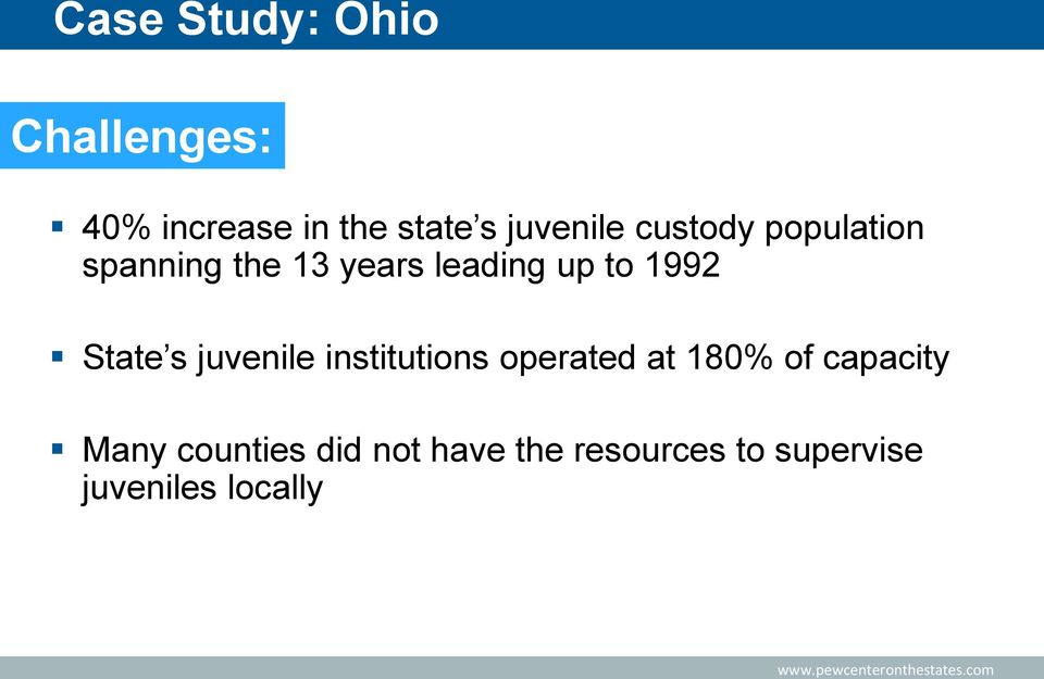 1992 State s juvenile institutions operated at 180% of capacity