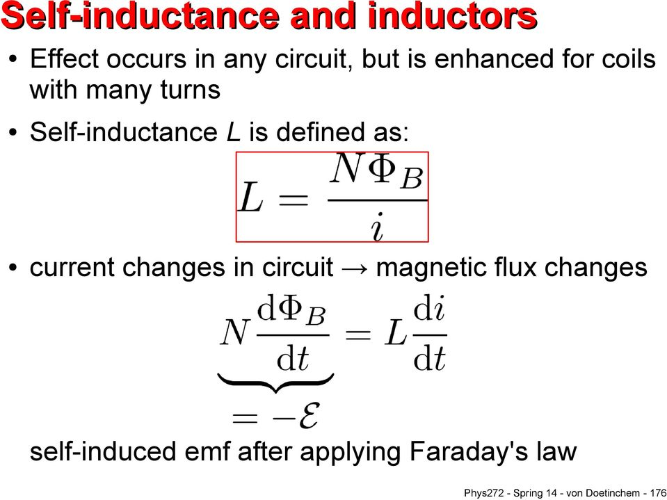 current changes in circuit magnetic flux changes self-induced emf