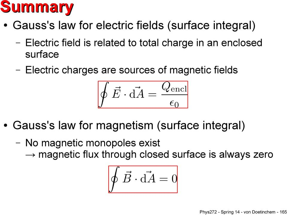 fields Gauss's law for magnetism (surface integral) No magnetic monopoles exist