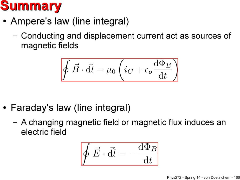Faraday's law (line integral) A changing magnetic field or