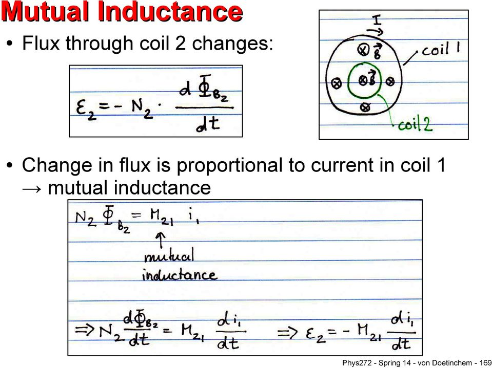 to current in coil 1 mutual inductance