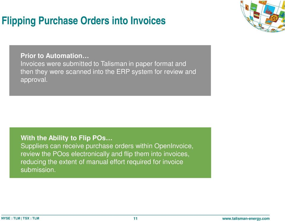 PURCHASE ORDER With the Ability to Flip POs Suppliers can receive purchase orders within OpenInvoice,