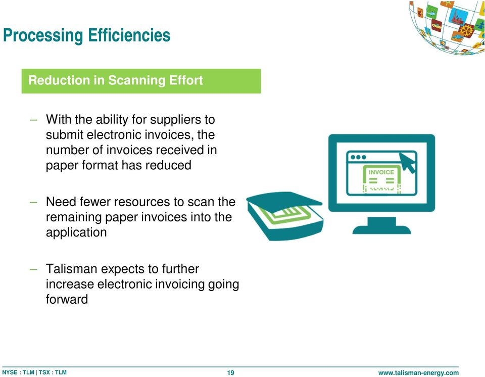 format has reduced Need fewer resources to scan the remaining paper invoices into