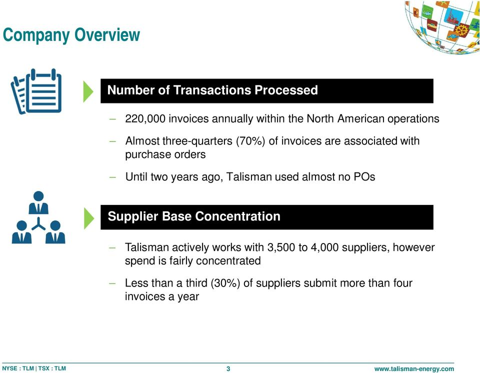 Talisman used almost no POs Supplier Base Concentration Talisman actively works with 3,500 to 4,000