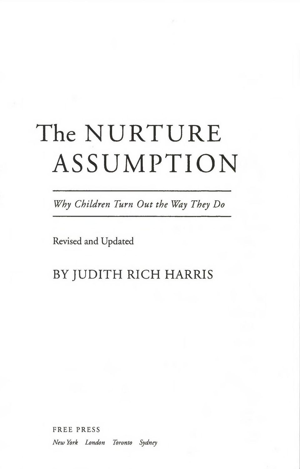 Updated BY JUDITH RICH HARRIS F R E E