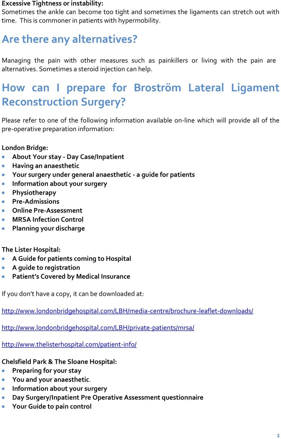 How can I prepare for Broström Lateral Ligament Reconstruction Surgery?