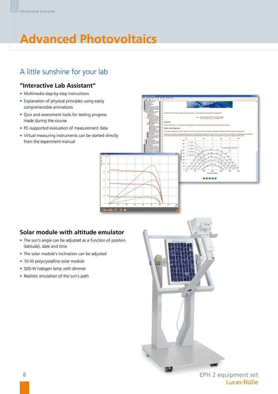 can be started directly from the experiment manual Solar module with altitude emulator The sun s angle can be adjusted as a function of position (latitude), date and