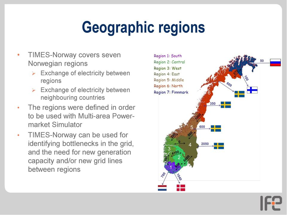 to be used with Multi-area Powermarket Simulator TIMES-Norway can be used for identifying