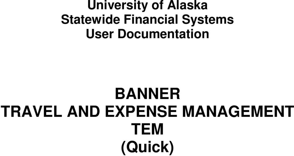 User Documentation BANNER