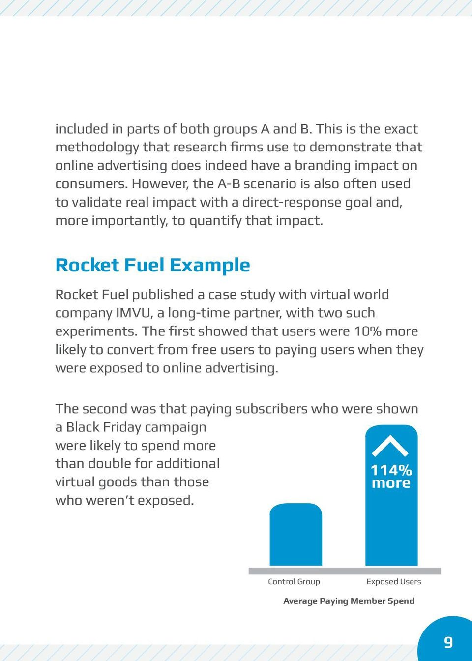 Rocket Fuel Example Rocket Fuel published a case study with virtual world company IMVU, a long-time partner, with two such experiments.