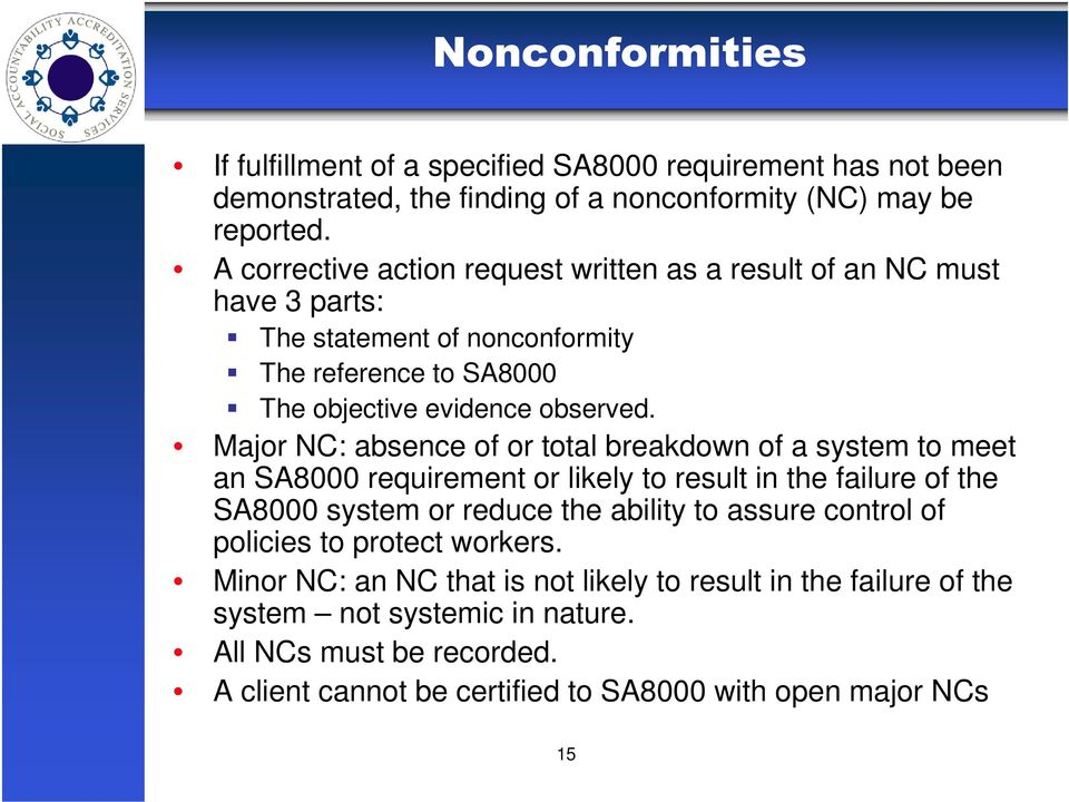 Major NC: absence of or total breakdown of a system to meet an SA8000 requirement or likely to result in the failure of the SA8000 system or reduce the ability to assure