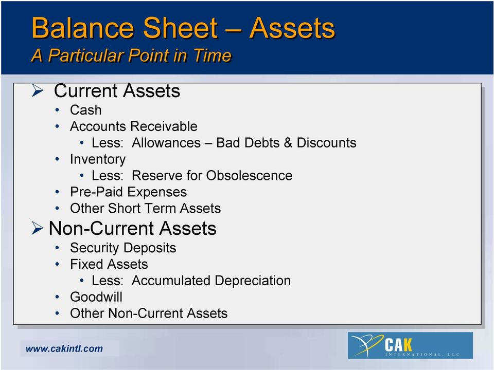 Obsolescence Pre-Paid Expenses Other Short Term Assets Non-Current Assets