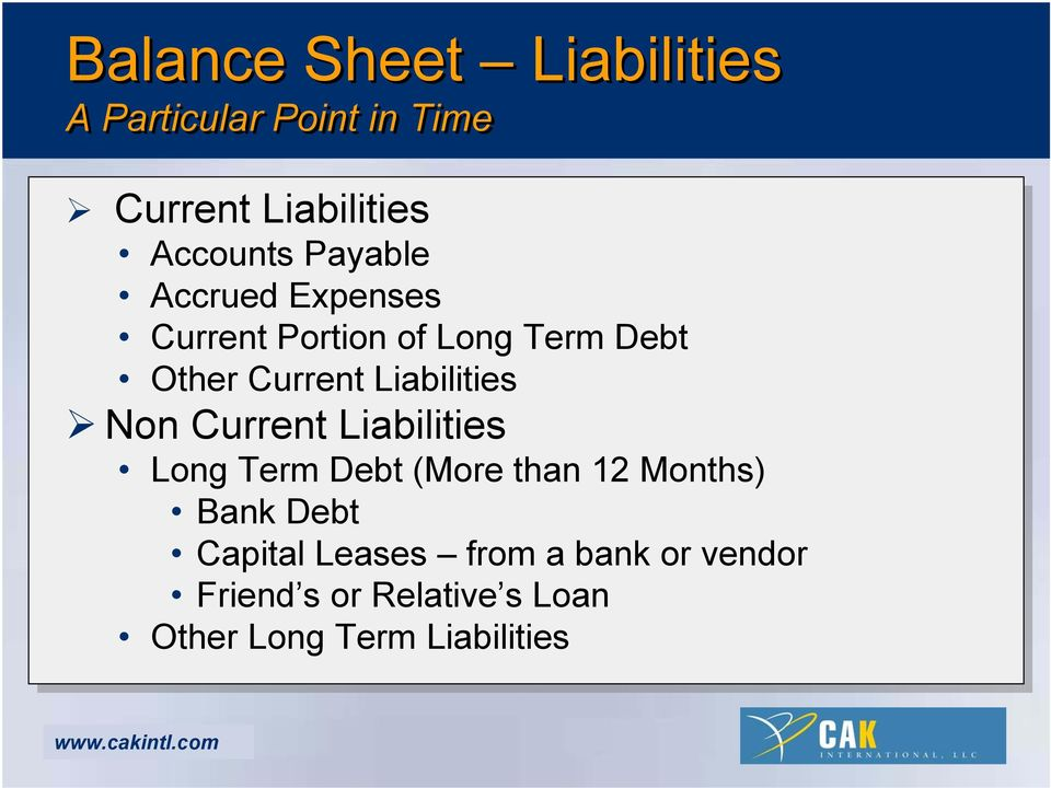 Liabilities Non Current Liabilities Long Term Debt (More than 12 Months) Bank Debt