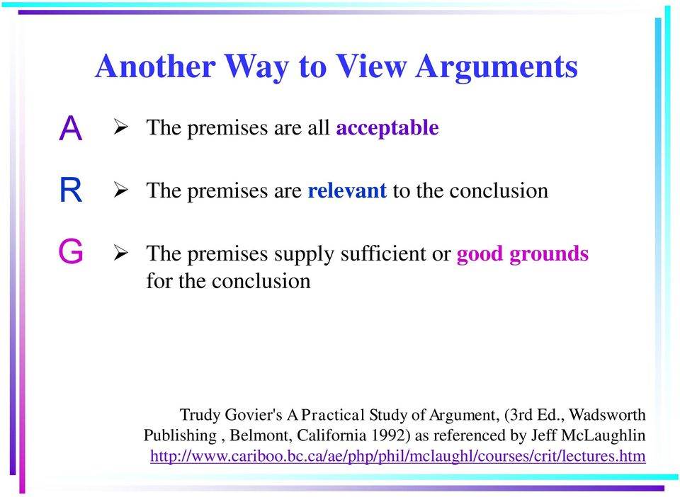 A Practical Study of Argument, (3rd Ed.