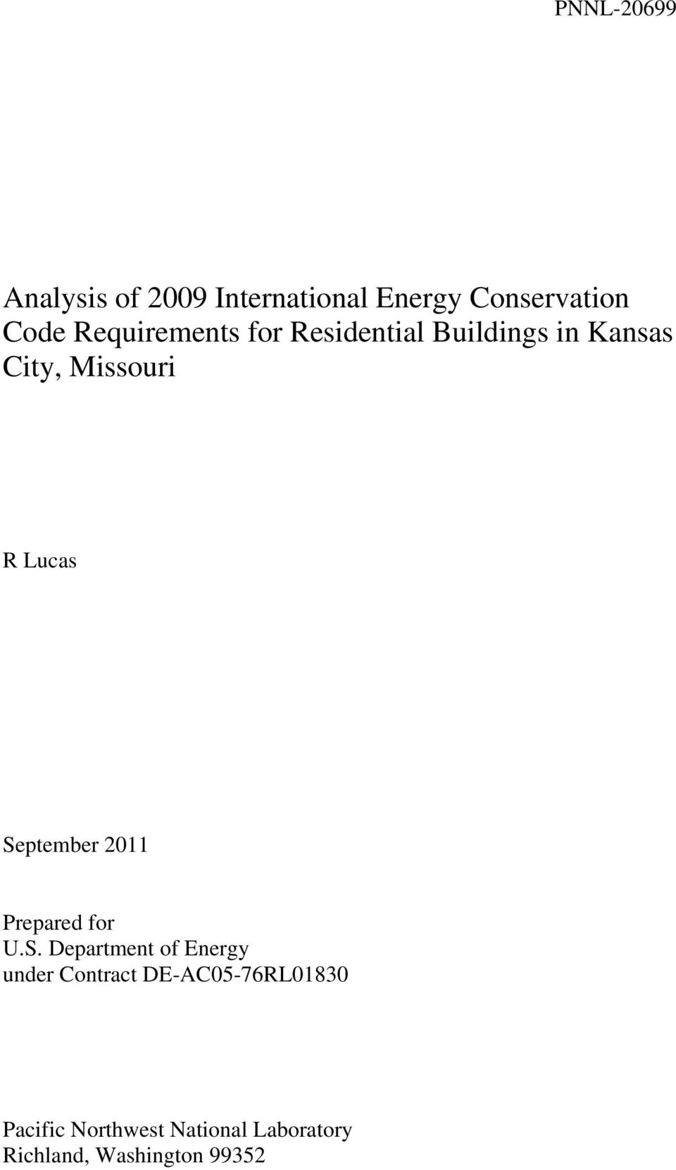 September 2011 Prepared for U.S. Department of Energy under Contract