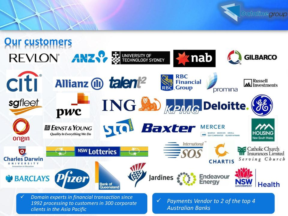 customers in 300 corporate clients in the