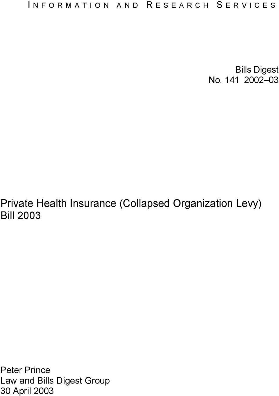 141 2002 03 Private Health Insurance
