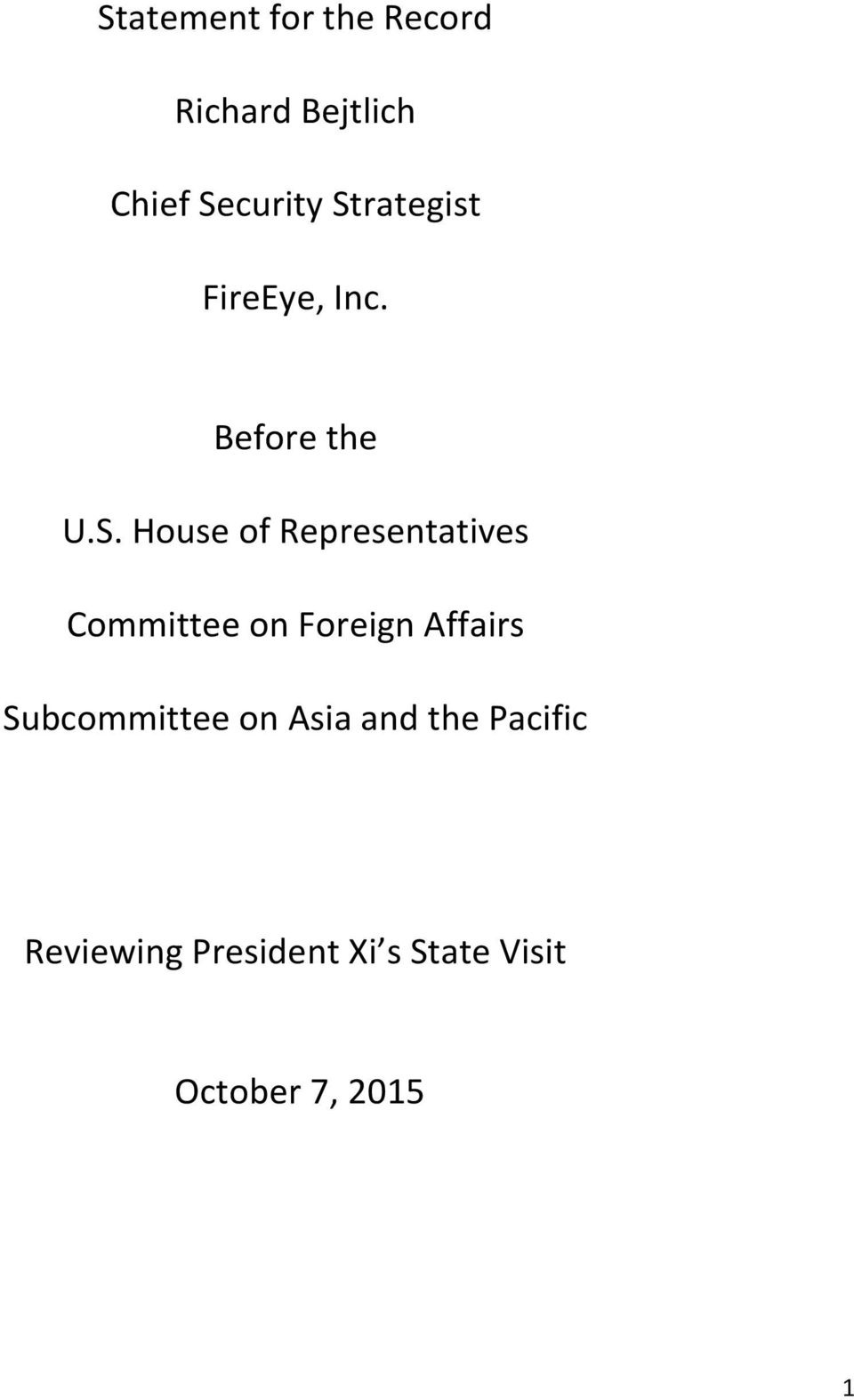 Representatives Committee on Foreign Affairs Subcommittee on