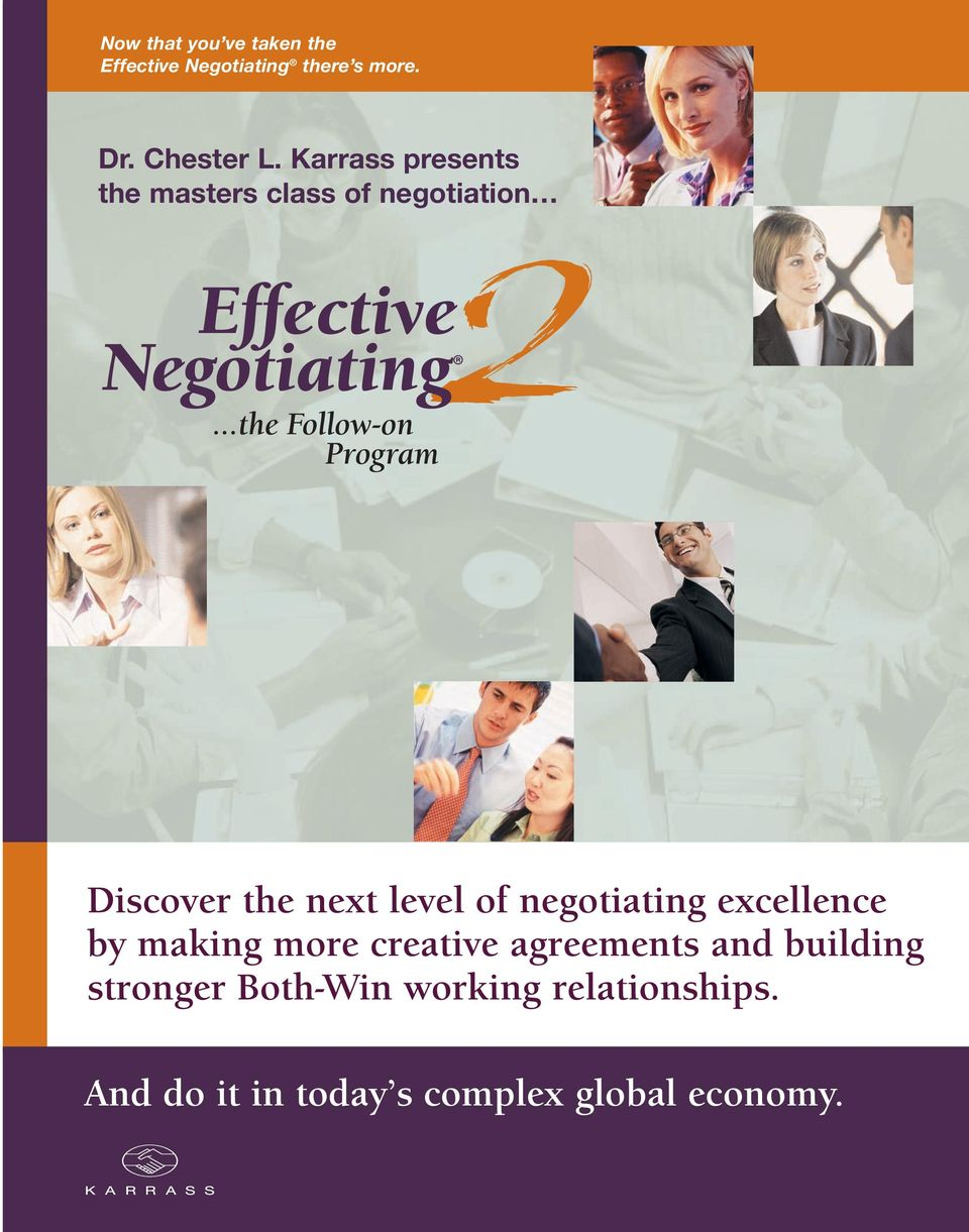 Program Discover the next level of negotiating excellence by making more creative