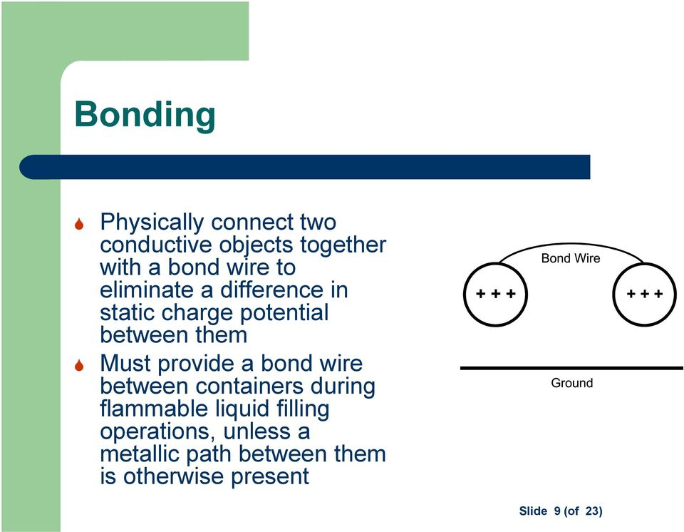 provide a bond wire between containers during flammable liquid filling