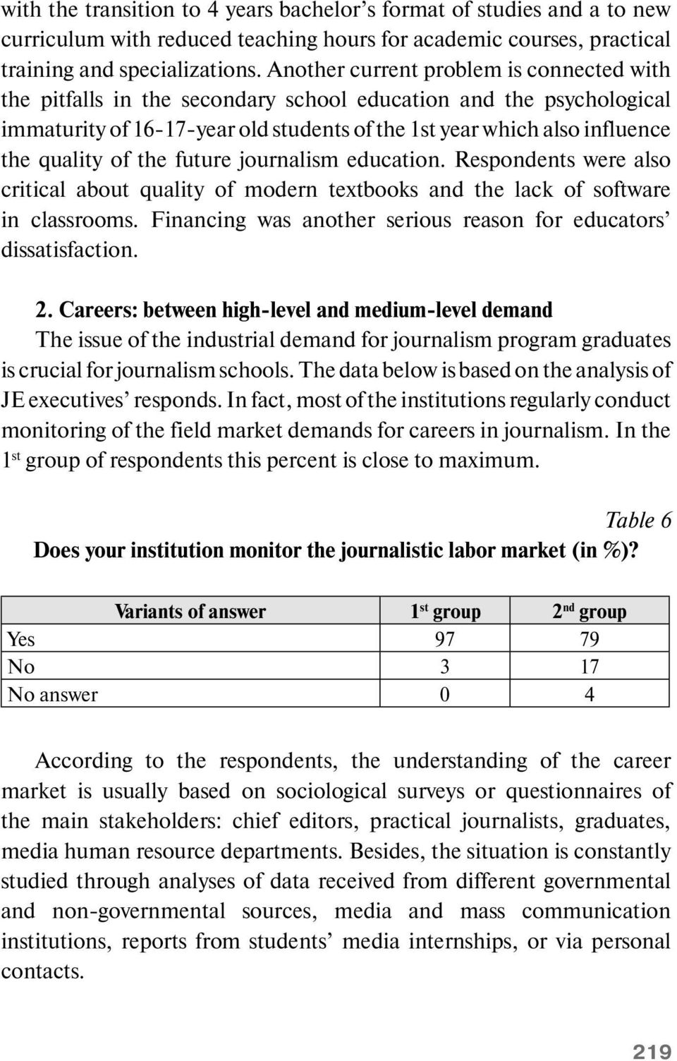 of the future journalism education. Respondents were also critical about quality of modern textbooks and the lack of software in classrooms.